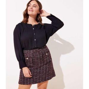 Loft boucle pocket shift skirt purple